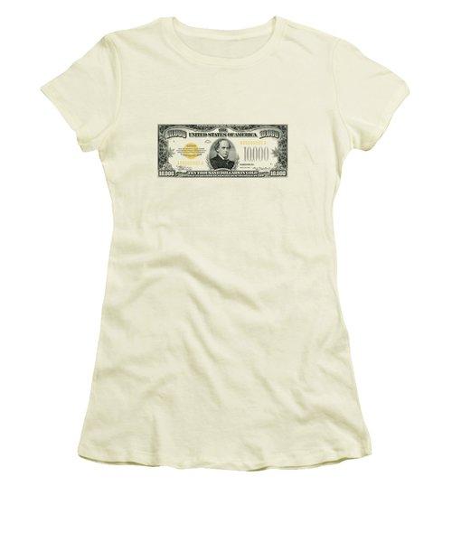 U.s. Ten Thousand Dollar Bill - 1934 $10000 Usd Treasury Note Women's T-Shirt (Junior Cut) by Serge Averbukh