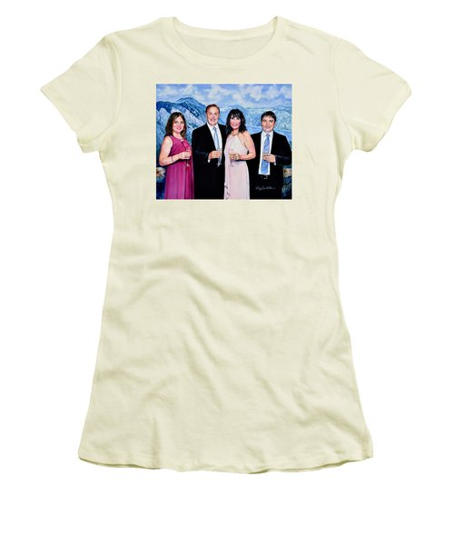 Women's T-Shirt (Athletic Fit) featuring the painting Vacation Celebration by Hanne Lore Koehler