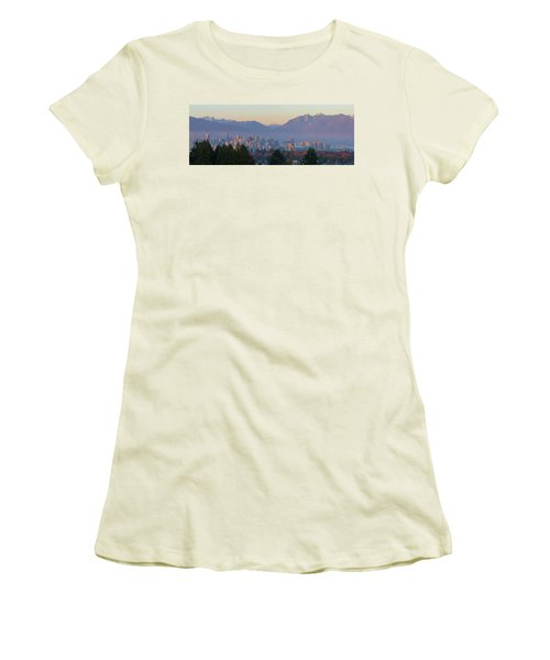 Vancouver Bc Downtown Cityscape At Sunset Panorama Women's T-Shirt (Athletic Fit)