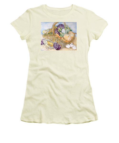 Vegetables In A Basket Women's T-Shirt (Junior Cut) by Joan Thewsey