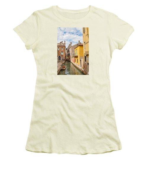 Venice Canal Women's T-Shirt (Junior Cut) by Sharon Jones