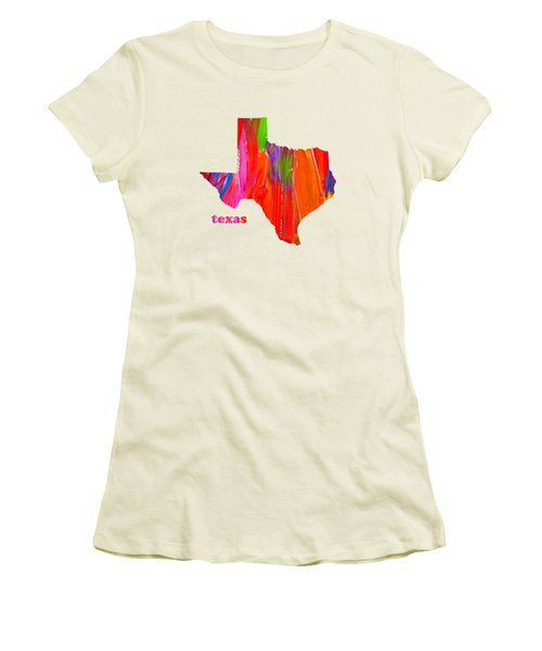 Vibrant Colorful Texas State Map Painting Women's T-Shirt (Junior Cut) by Design Turnpike