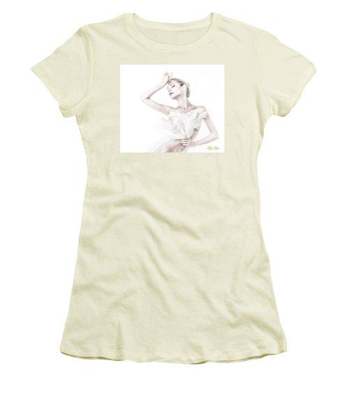 Viktory In White - Feathered Women's T-Shirt (Junior Cut) by Rikk Flohr