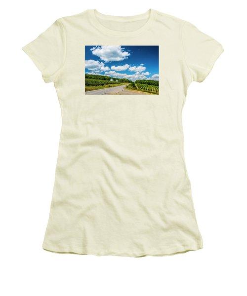 Women's T-Shirt (Junior Cut) featuring the photograph Vineyards In Summer by Steven Ainsworth