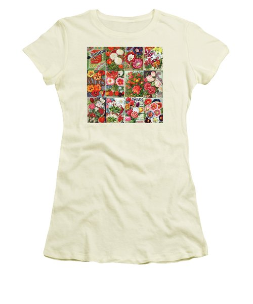 Vintage Childs Nursery Flower Seed Packets Mosaic  Women's T-Shirt (Junior Cut) by Peggy Collins
