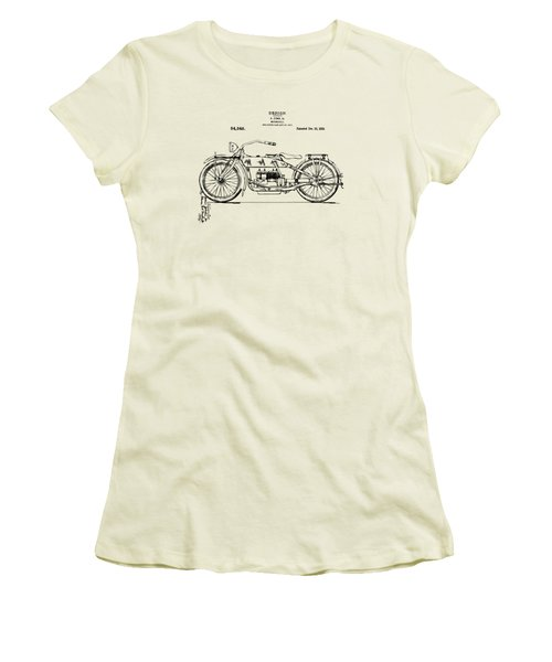 Vintage Harley-davidson Motorcycle 1919 Patent Artwork Women's T-Shirt (Athletic Fit)