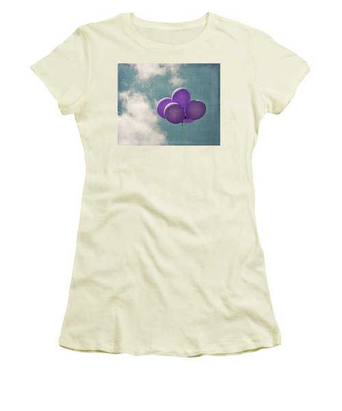 Vintage Inspired Purple Balloons In Blue Sky Women's T-Shirt (Junior Cut) by Brooke T Ryan