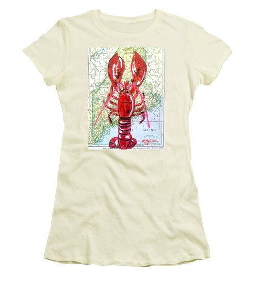Vintage Map Maine Red Lobster Women's T-Shirt (Junior Cut) by Scott D Van Osdol