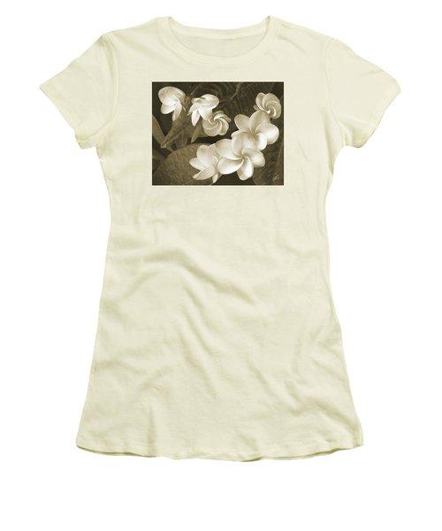 Vintage Plumeria Women's T-Shirt (Junior Cut) by Ben and Raisa Gertsberg