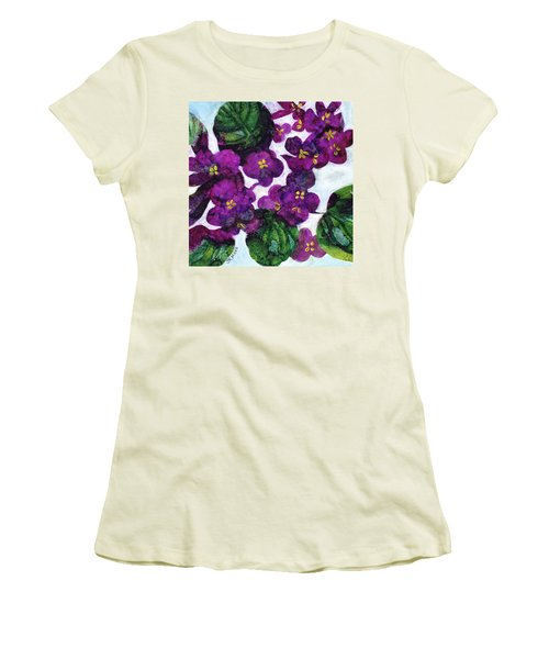 Women's T-Shirt (Junior Cut) featuring the painting Violets by Julie Maas