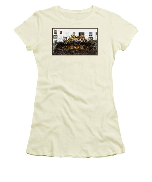 Women's T-Shirt (Junior Cut) featuring the mixed media Virtual Exhibition With Birthday Cake by Pemaro