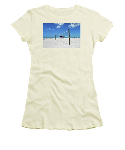 Women's T-Shirt (Athletic Fit) featuring the photograph Volley Ball On The Beach by Gary Wonning