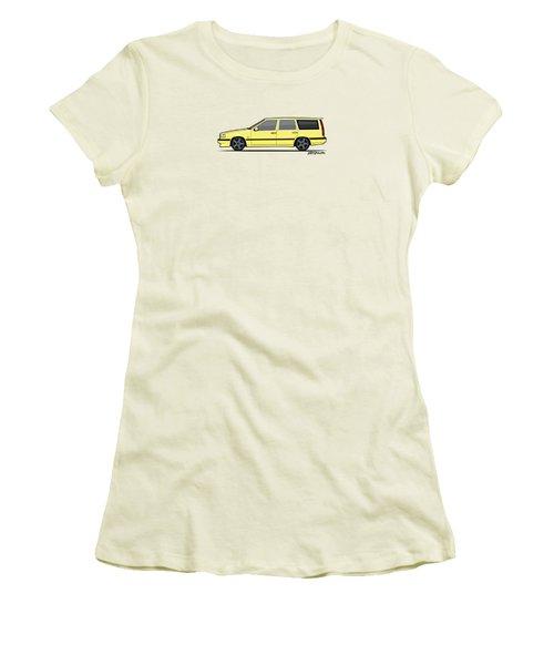 Volvo 850r 855r T5-r Swedish Turbo Wagon Cream Yellow Women's T-Shirt (Athletic Fit)