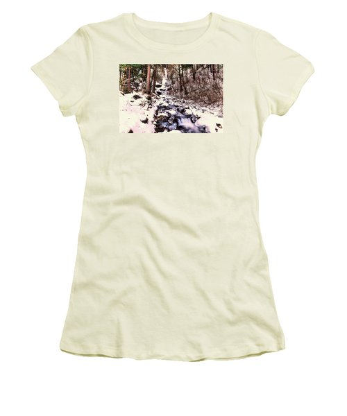 Women's T-Shirt (Junior Cut) featuring the photograph Wahkeena Falls In Ice by Jeff Swan
