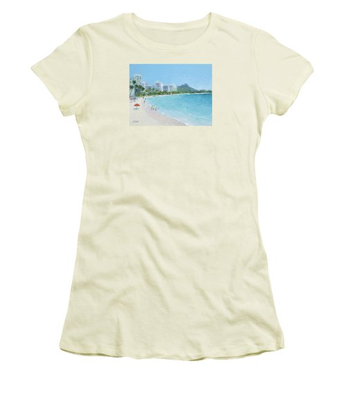 Waikiki Beach Honolulu Hawaii Women's T-Shirt (Athletic Fit)