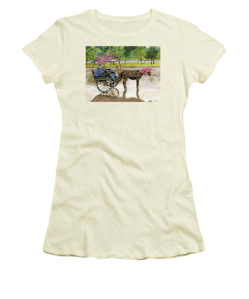 Women's T-Shirt (Junior Cut) featuring the painting Waiting For Rider Jakarta Indonesia by Melly Terpening