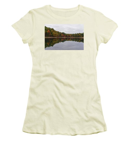 Walden Pond Fall Foliage Concord Ma Reflection Trees Women's T-Shirt (Athletic Fit)