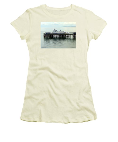 Women's T-Shirt (Junior Cut) featuring the photograph Wales Boardwalk by Joan  Minchak