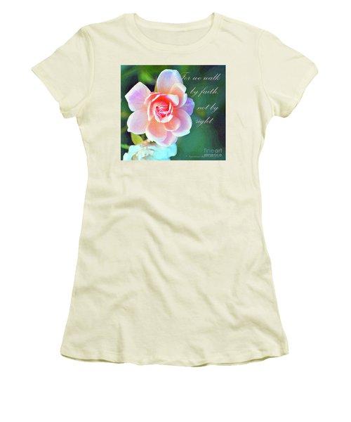 Walk By Faith Women's T-Shirt (Junior Cut) by Inspirational Photo Creations Audrey Woods