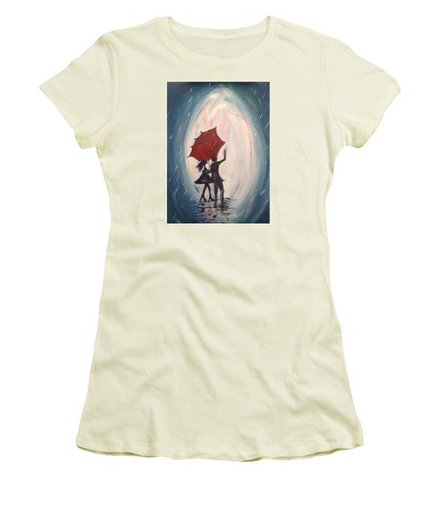 Walking In The Rain Women's T-Shirt (Junior Cut) by Roxy Rich