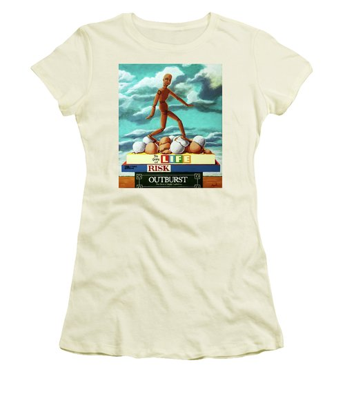 Women's T-Shirt (Junior Cut) featuring the painting Walking On Eggshells Imaginative Realistic Painting by Linda Apple