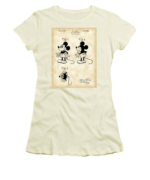 Walt Disney Mickey Mouse Patent 1929 - Vintage Women's T-Shirt (Athletic Fit)