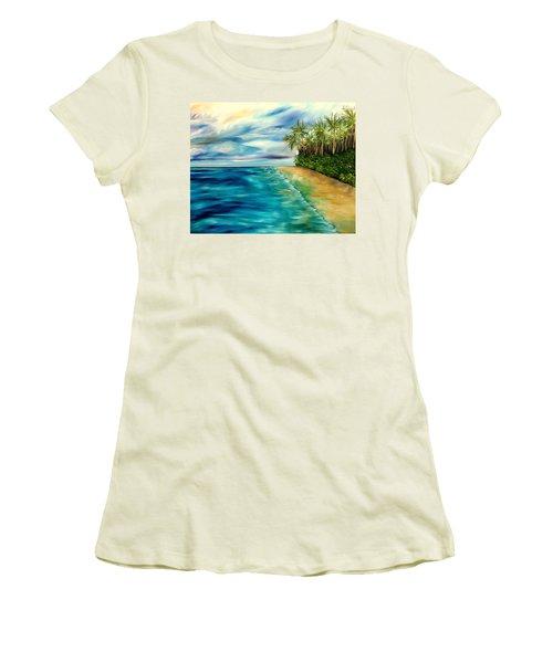Wandering Through Turquoise Days Women's T-Shirt (Junior Cut) by Lisa Aerts