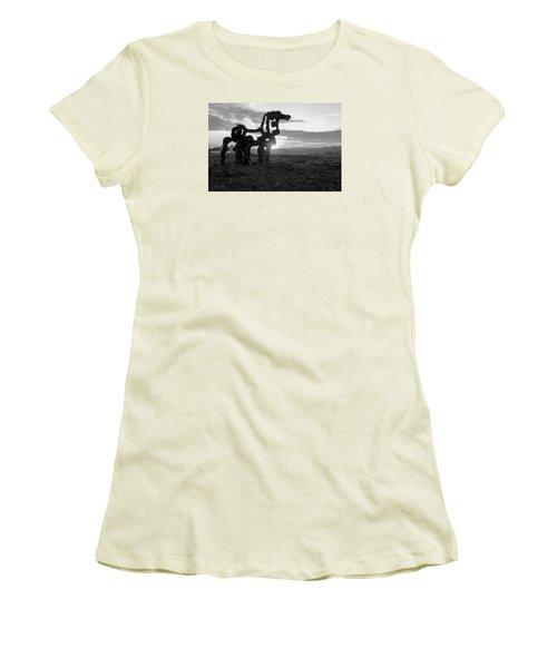 Watchful The Iron Horse  Women's T-Shirt (Junior Cut) by Reid Callaway