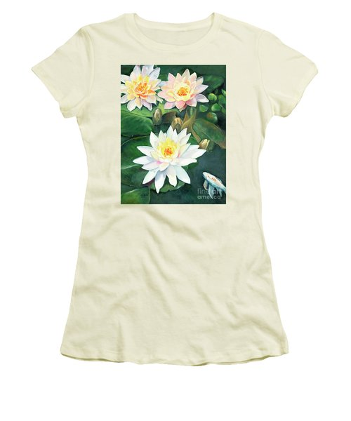 Women's T-Shirt (Athletic Fit) featuring the painting Water Lilies And Koi by Marlene Book