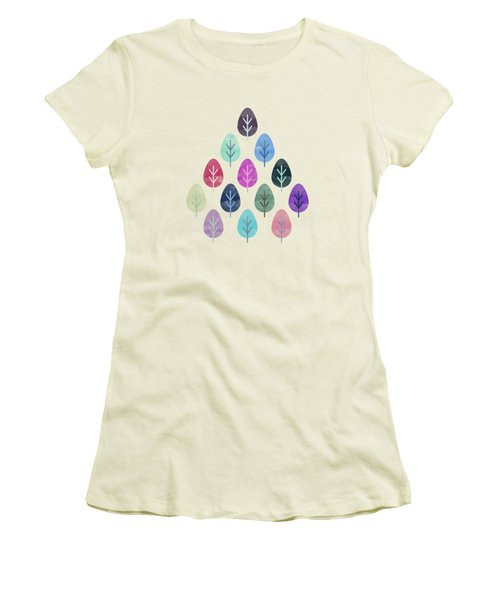 Watercolor Forest Pattern  Women's T-Shirt (Athletic Fit)
