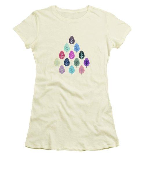 Watercolor Forest Pattern II Women's T-Shirt (Junior Cut) by Amir Faysal