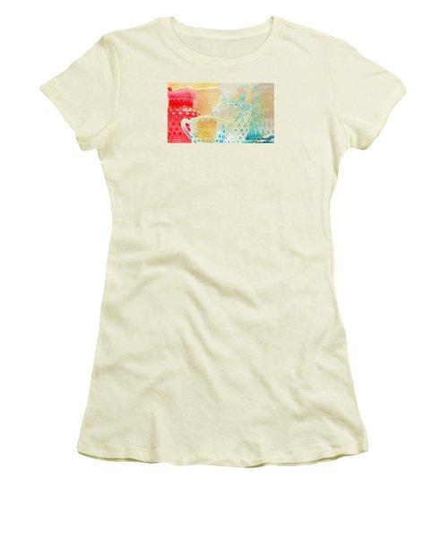Watercolor Glassware Women's T-Shirt (Junior Cut) by Bonnie Bruno
