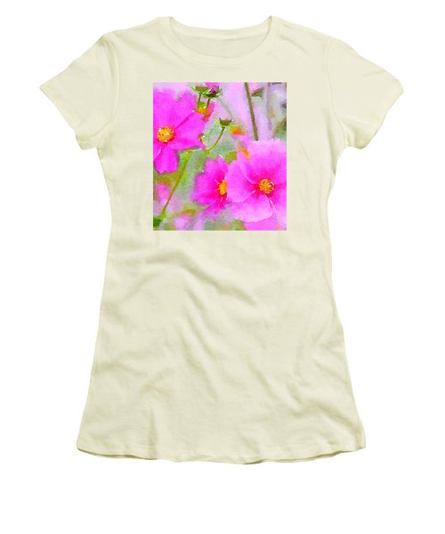 Watercolor Pink Cosmos Women's T-Shirt (Junior Cut) by Bonnie Bruno