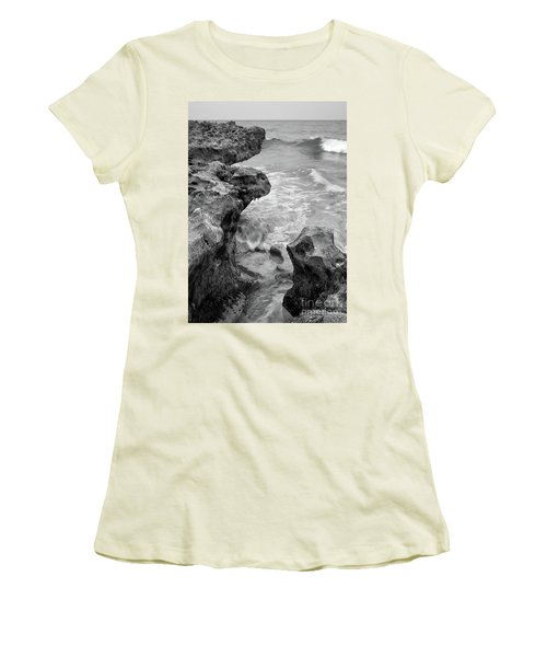 Waves And Coquina Rocks, Jupiter, Florida #39358-bw Women's T-Shirt (Athletic Fit)