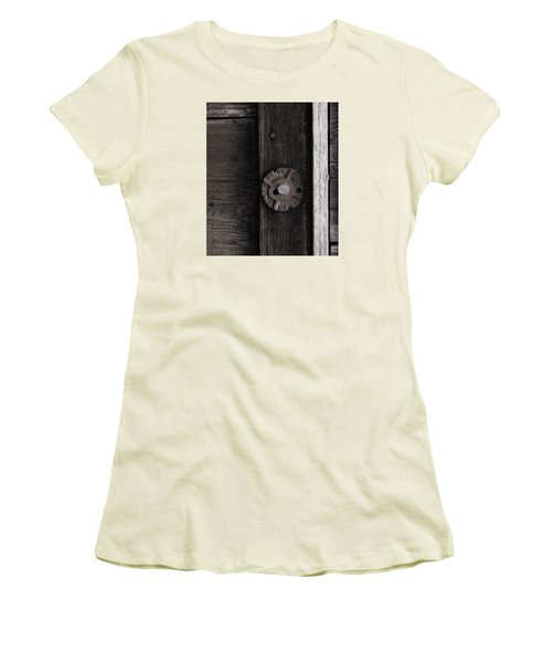 Women's T-Shirt (Junior Cut) featuring the photograph Weathered Wood And Metal Two by Kandy Hurley