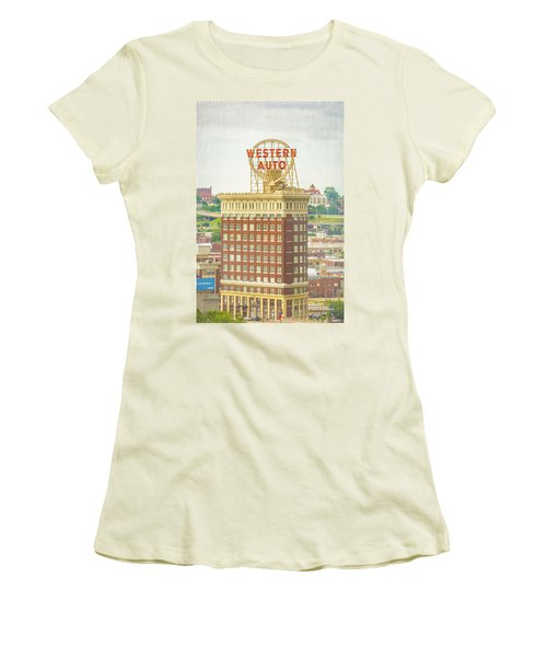 Western Auto Women's T-Shirt (Junior Cut) by Pamela Williams