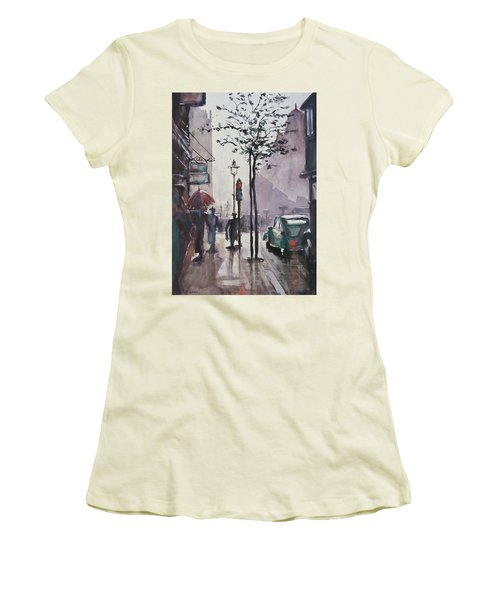 Women's T-Shirt (Junior Cut) featuring the painting Wet Afternoon by Geni Gorani