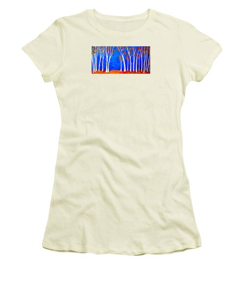 Whimsical Birch Trees Women's T-Shirt (Junior Cut) by Haleh Mahbod