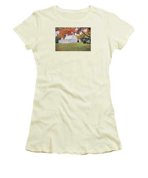 White Barn In Autumn Women's T-Shirt (Junior Cut) by Marion Johnson