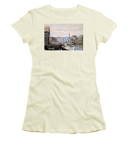 Women's T-Shirt (Junior Cut) featuring the painting White Boat In Peggys Cove Nova Scotia by Ian  MacDonald