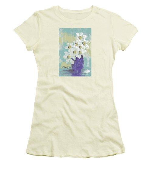 White Flowers Women's T-Shirt (Junior Cut) by P J Lewis