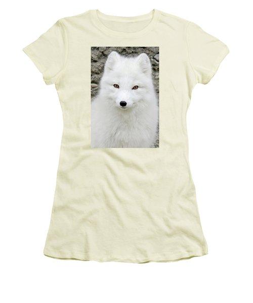 White Fox Women's T-Shirt (Junior Cut) by Athena Mckinzie