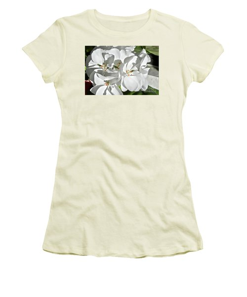 White Geraniums Women's T-Shirt (Athletic Fit)