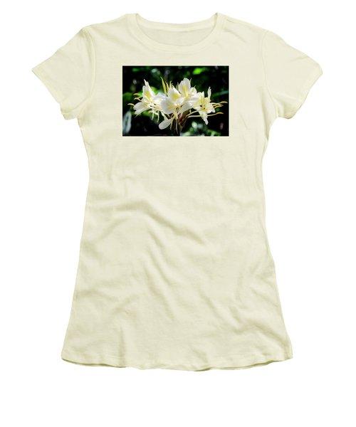 White Hawaiian Flowers Women's T-Shirt (Athletic Fit)