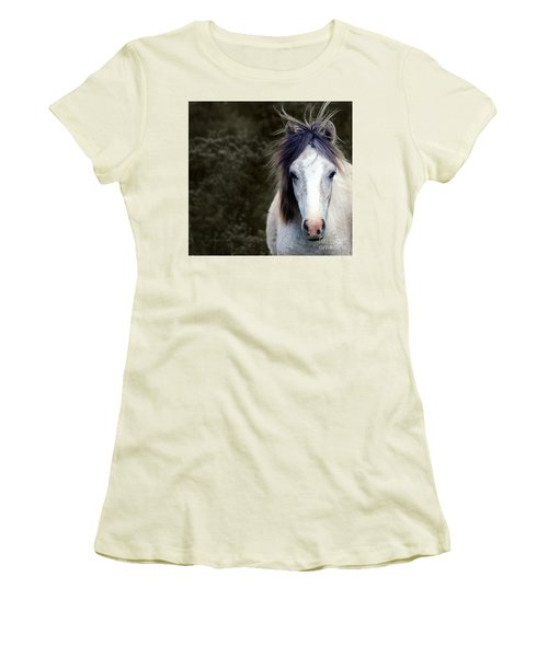 White Horse Women's T-Shirt (Junior Cut) by Sebastian Mathews Szewczyk