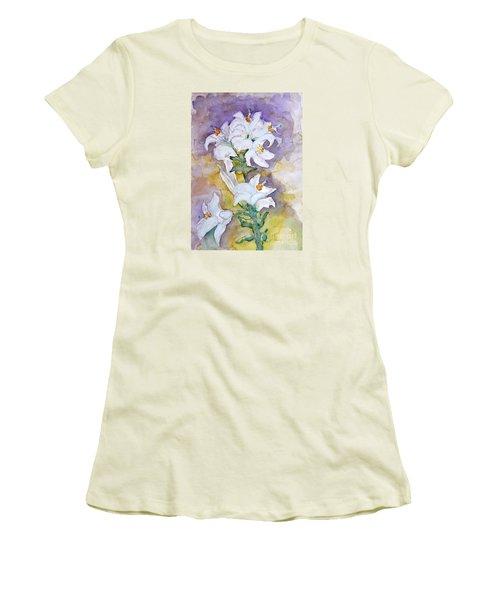 White Lilies Women's T-Shirt (Junior Cut) by Jasna Dragun