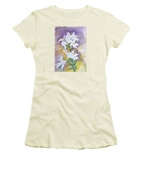 White Lilies Women's T-Shirt (Athletic Fit)