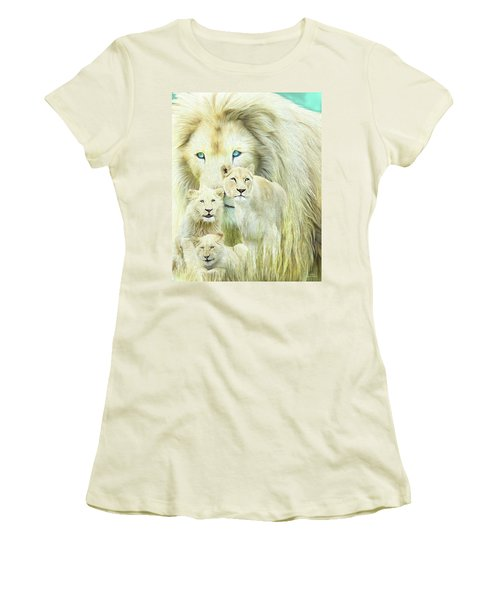 Women's T-Shirt (Athletic Fit) featuring the mixed media White Lion Family - Forever by Carol Cavalaris