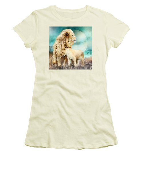 Women's T-Shirt (Athletic Fit) featuring the mixed media White Lion Family - Protection by Carol Cavalaris