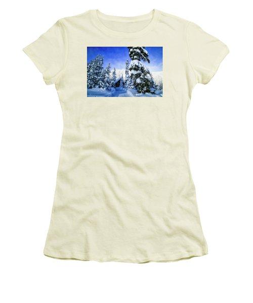 White Pass Chalet Women's T-Shirt (Junior Cut) by Lynn Hopwood